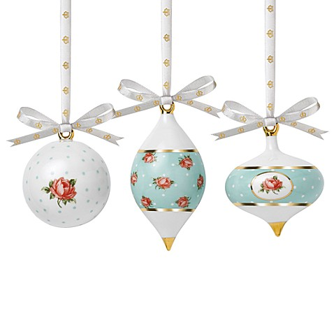 Royal Albert Polka Roses Holiday Ornaments Set of 3