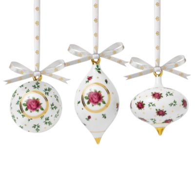 Royal Albert New Country Roses White Ornaments Set of 3