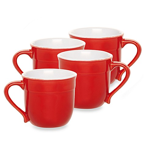 Emile Henry 4-Piece 12 oz. Mug Set in Cerise