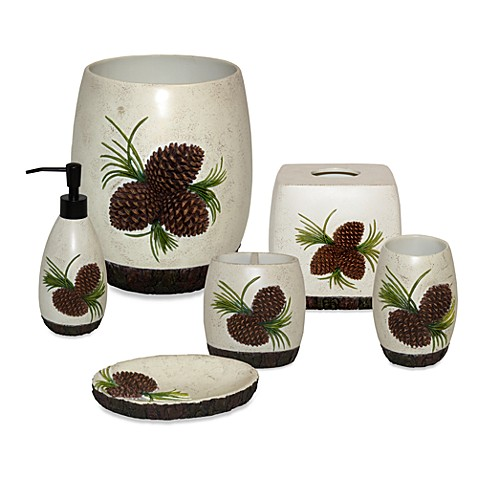 Pine cone branch bath accessories set bed bath beyond for Bathroom stuff for sale