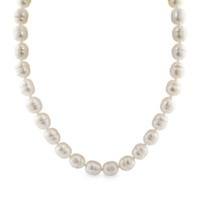 Honora Classics Sterling Silver10.5-11.5mm Barrel Ringed Fresh Water Cultured Pearl 18-Inch Necklace