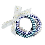 Honora Set of Five 7-8mm Ringed Fresh Water Cultured Pearl Stretch Bracelets in Multi
