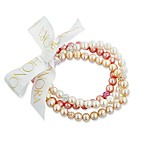 Honora 7-8mm Ringed Fresh Water Cultured Pearls and Crystal Stretch Bracelets in Rose/Multi (Set of 3)