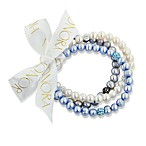 Honora 7-8mm Ringed Fresh Water Cultured Pearl and Crystal Stretch Bracelets in Blue/Multi (Set of 3)