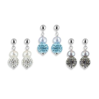 Honora Sterling Silver 6-7mm Fresh Water Cultured Pearl and Crystal Earrings in Blue/White (Set of 3)