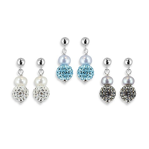 Honora Sterling Silver Fresh Water Cultured Pearl/Crystal Earrings in Blue/White (Set of 3)