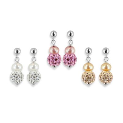 Honora Sterling Silver 6-7mm Fresh Water Cultured Pearl and Crystal Earrings in Pink/White (Set of 3)