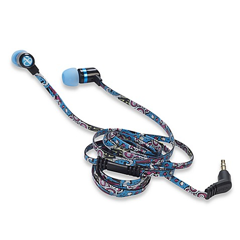 ChicBuds Arts No Tangle Printed Cord Earbuds in Blue Graffitti