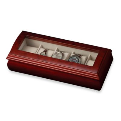 Mele & Co. Glass Top Cherry Wood Watch Box