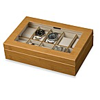 Mele & Co. Logan Glass Top Watch Box in Bamboo Finish