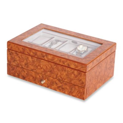 Mele & Co. Glass Top Burlwood Oak Watch Box
