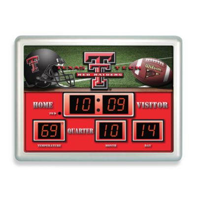 Texas Tech Indoor/Outdoor Scoreboard Wall Clock