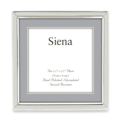 Siena Silver Plated Narrow Plain 3.5-Inch x 3.5-Inch Picture Frame