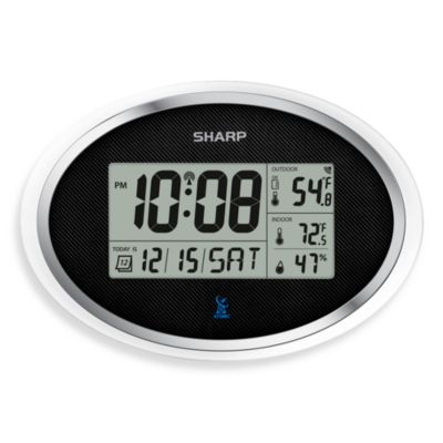 Sharp Atomic LCD Digital Oval Alarm Clock