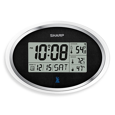 Buy Sharp Atomic Lcd Digital Oval Wall Clock From Bed Bath