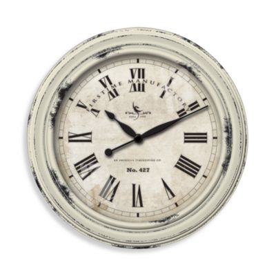 Rosalind Distressed White Wall Clock