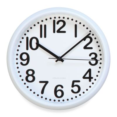 8-Inch Wall Clock with White Trim