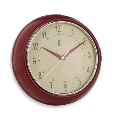 Geneva Red Plastic Diner Wall Clock