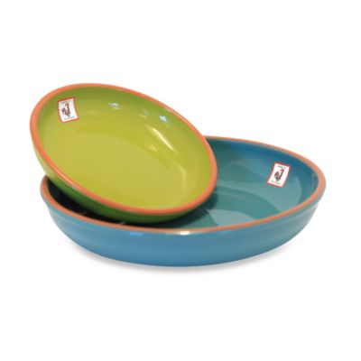 Costa Del Sol 2-Piece Serving Bowls in Turquoise and Lime