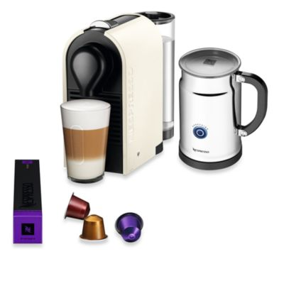 Nespresso® U Espresso Maker and Aeroccino Plus Bundle in Pure Cream