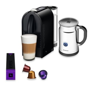 Nespresso® U Espresso Maker and Aeroccino Plus Bundle in Pure Black
