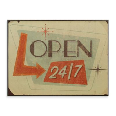 Open 24/7 13-Inch x 17-Inch Wall Art