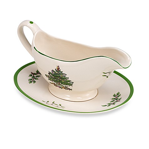 Spode® Christmas Tree Gravy Boat with Stand