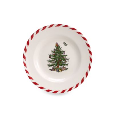 Spode® Christmas Tree 6 1/2-Inch Peppermint Canape Plate (Set of 4)