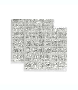 KitchenSmart® Colors Toallas de cocina a cuadros en gris plata, Paquete de 2