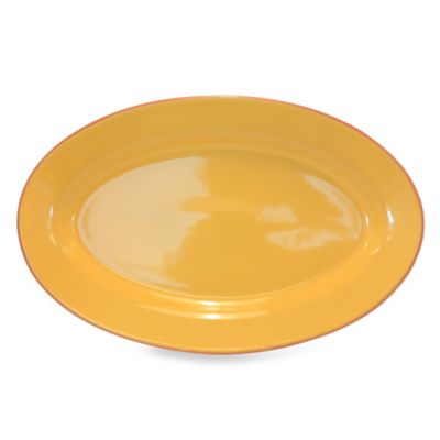 Baum Costa Del Sol 18-Inch x 11-Inch Oval Platter in Yellow