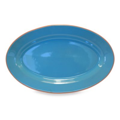 Baum Costa Del Sol 18-Inch x 11-Inch Oval Platter in Turquoise