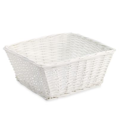 Redmon Collection Large Willow Basket in White