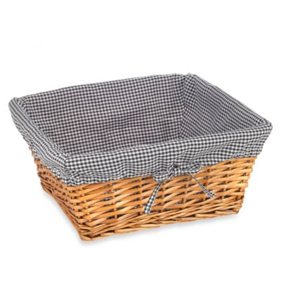 Redmon Collection Large Willow Basket Gingham Liner in Black