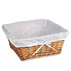 Redmon Collection Large Willow Basket Gingham Liner in Blue