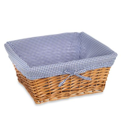 Redmon Collection Large Willow Basket Gingham Liner in Navy