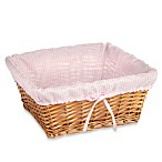 Redmon Collection Large Willow Basket Gingham Liner in Pink
