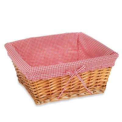 Redmon Collection Large Willow Basket Gingham Liner in Red