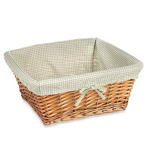 Redmon Collection Large Willow Basket Gingham Liner in Sage