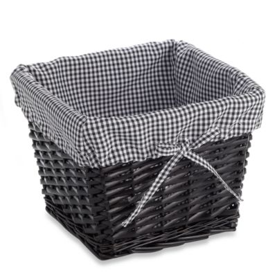 Redmon Collection Small Willow Basket Gingham Liner in Black