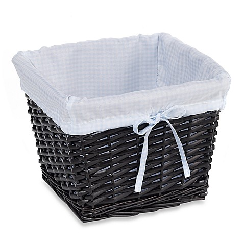 Redmon Collection Small Willow Basket Gingham Liner in Blue