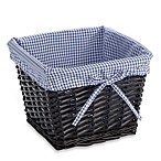 Redmon Collection Small Willow Basket Gingham Liner in Navy
