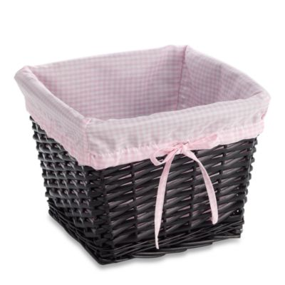 Redmon Collection Small Willow Basket Gingham Liner in Pink
