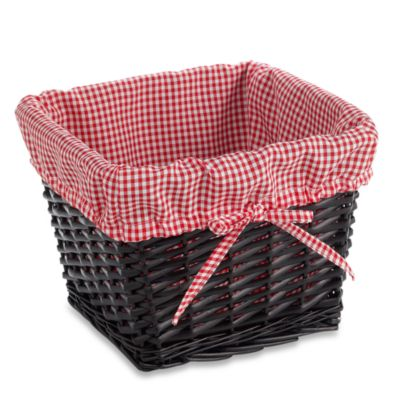 Redmon Collection Small Willow Basket Gingham Liner in Red