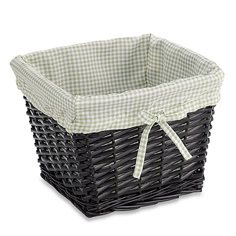 Redmon Collection Small Willow Basket Gingham Liner in Sage