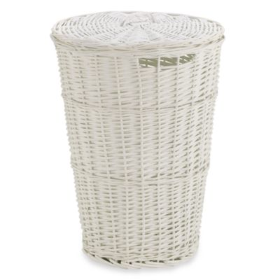 Redmon Collection Round Willow Hamper in White