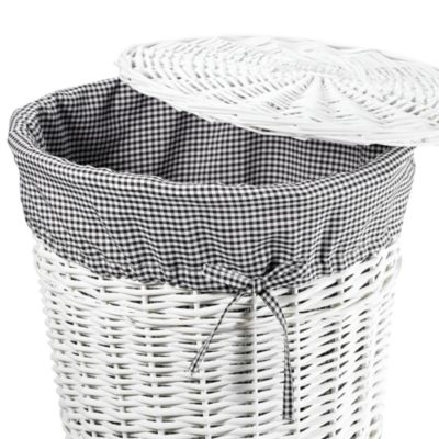 Redmon Collection Round Willow Hamper Gingham Liner in Black