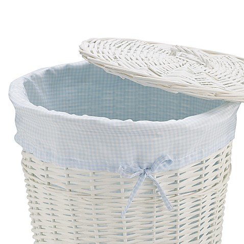Redmon Collection Round Willow Hamper Gingham Liner in Blue