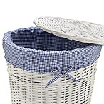Redmon Collection Round Willow Hamper Gingham Liner in Navy