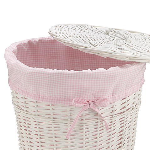 Redmon Collection Round Willow Hamper Gingham Liner in Pink