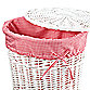 Redmon Collection Round Willow Hamper Gingham Liner in Red